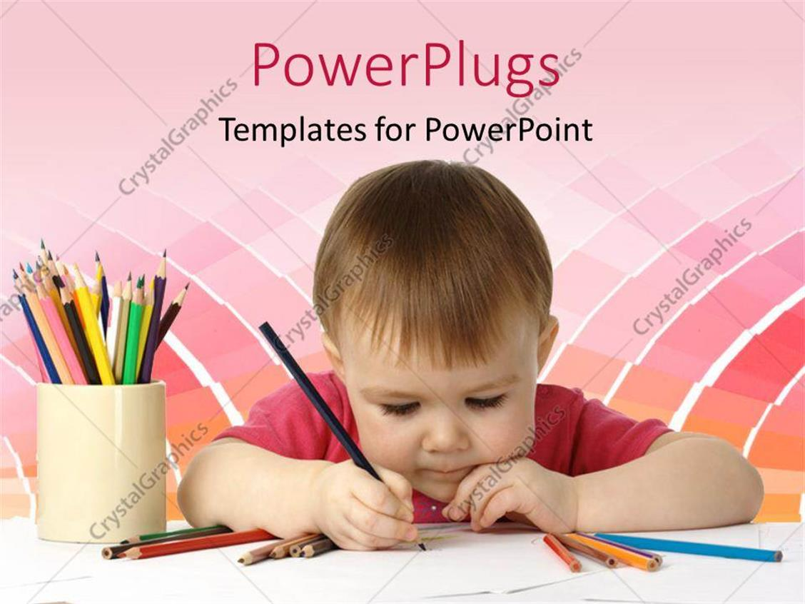 Powerpoint template beautiful kid drawing with colored crayons on powerpoint template displaying beautiful kid drawing with colored crayons on white piece of paper toneelgroepblik Images