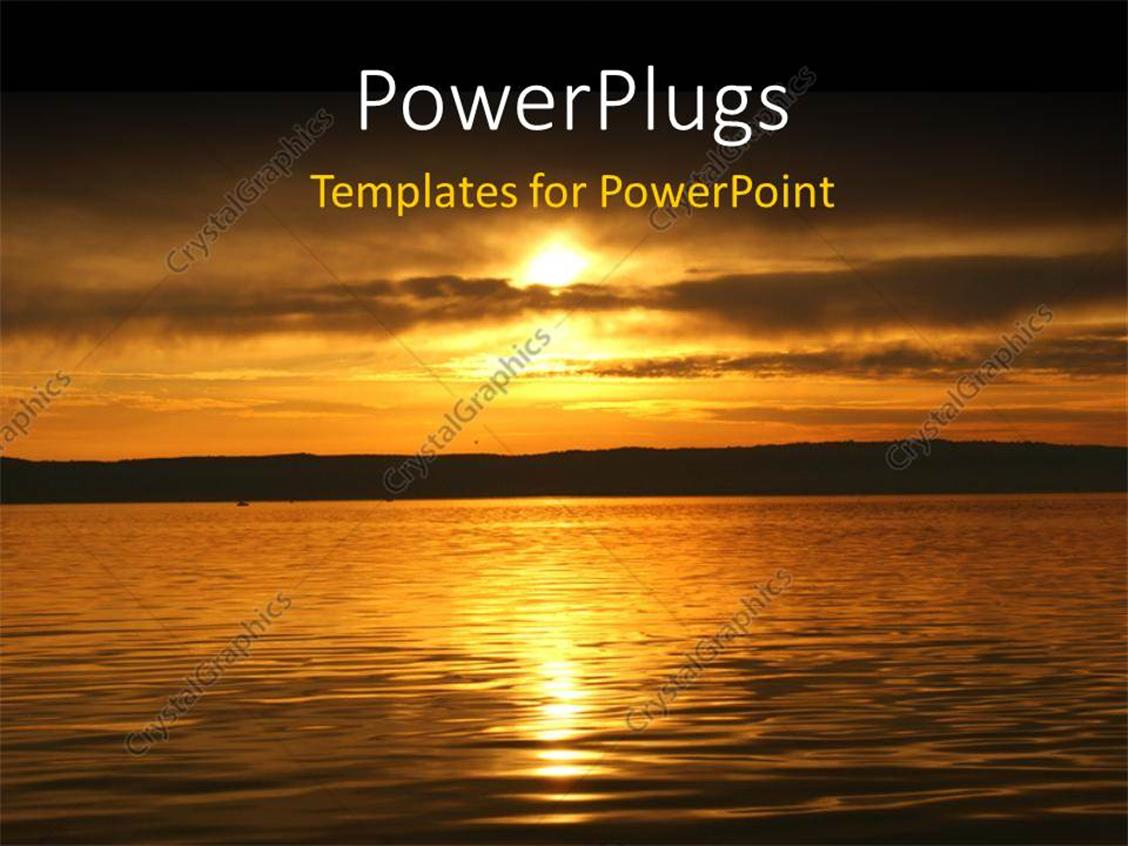 powerpoint template beautiful view of sunset over sea
