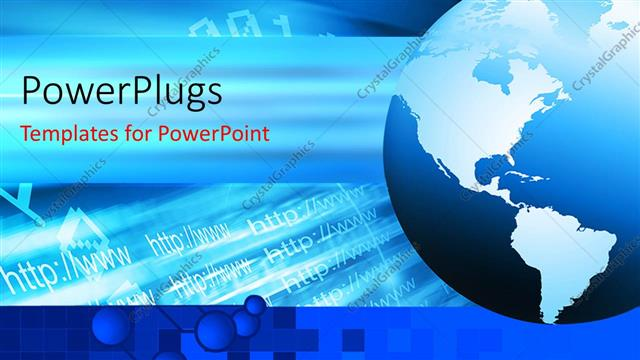 powerpoint template: internet depiction with globe and internet, Modern powerpoint