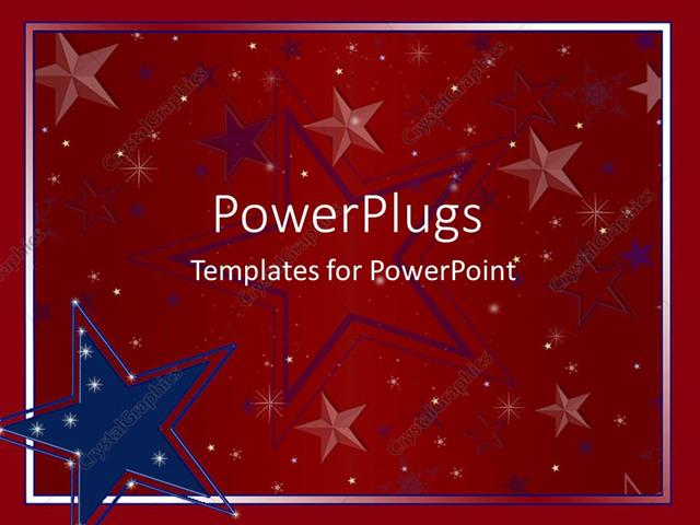 powerpoint template big blue and red star logos on a red, Powerpoint