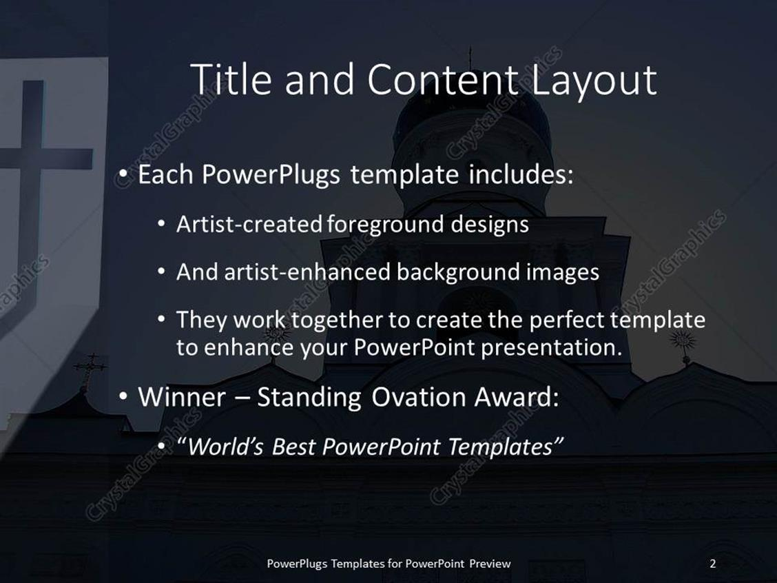 powerpoint template: big catholic church with a cross and a ray of, Powerpoint templates