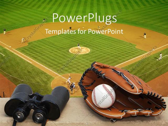 Powerpoint Template: Binoculars, Baseball, And Glove On Ledge