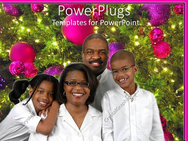 Powerpoint template black american family of four poses beside powerpoint template displaying black american family of four poses beside decorated christmas tree toneelgroepblik Choice Image