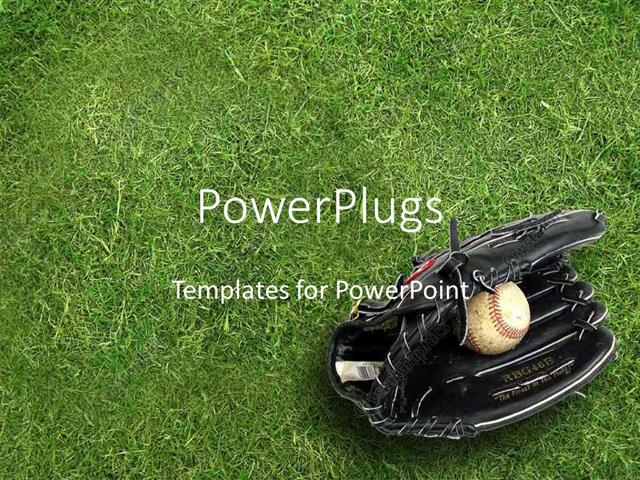 powerpoint template: black baseball glove holding baseball ball on, Powerpoint templates