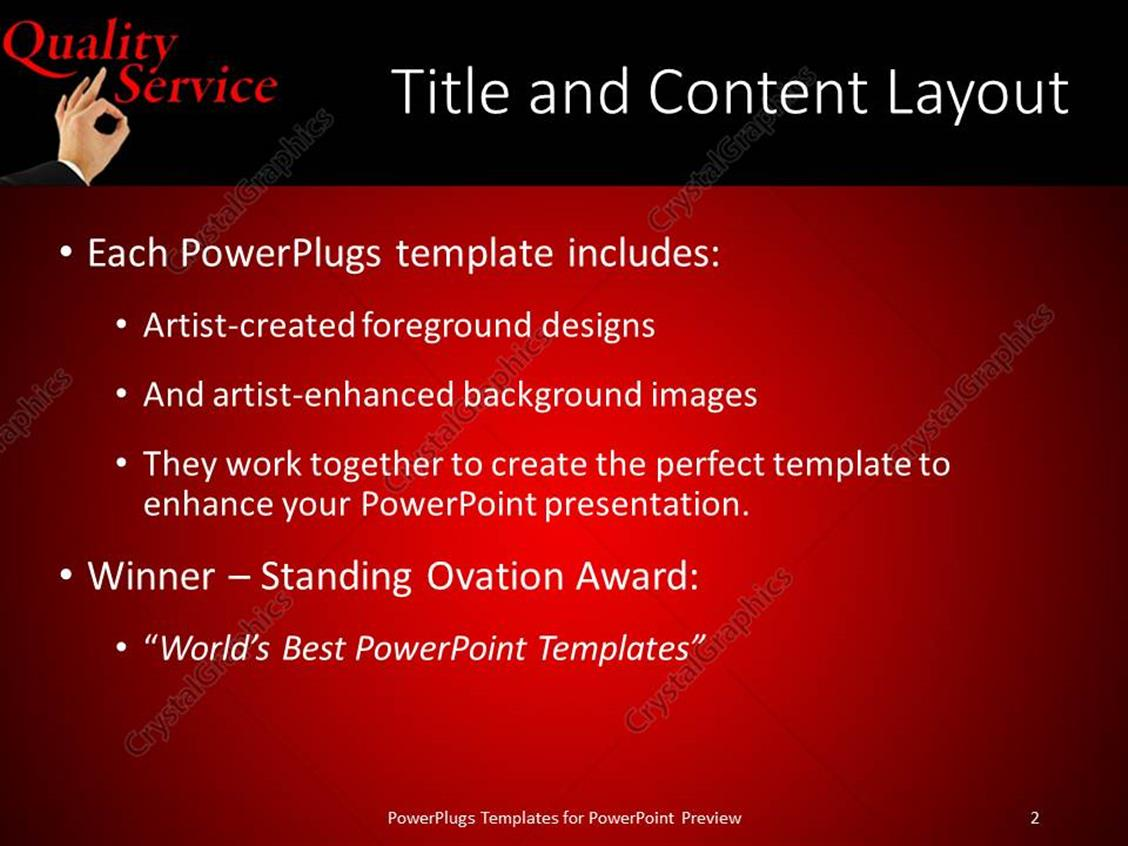 Powerpoint template black and red quality customer service powerpoint products templates secure standing ovation award toneelgroepblik Choice Image
