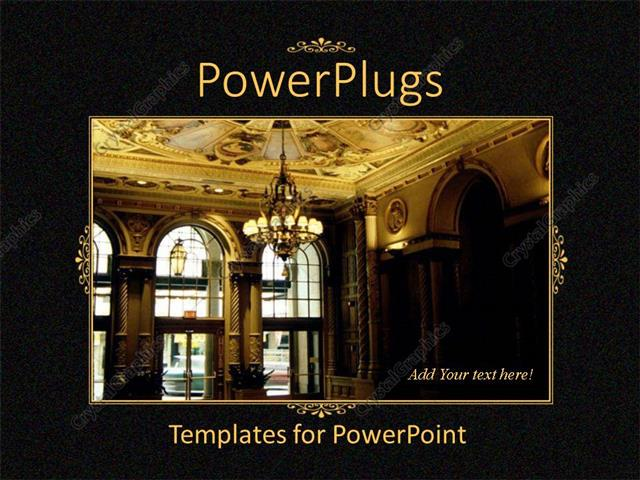 PowerPoint Template Displaying Black Showing Hotel Lobby With Golden Interior And Chandelier