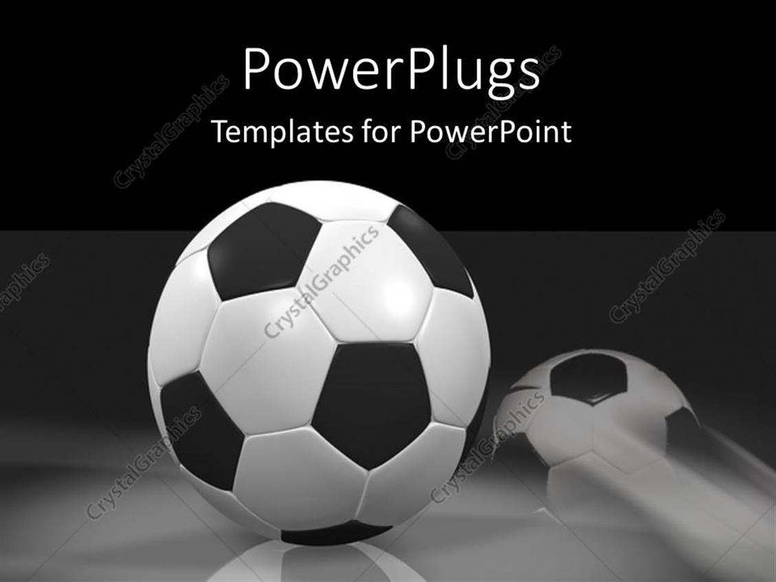 PowerPoint Template: Black and white soccer balls rolling ... Rolling Soccer Ball