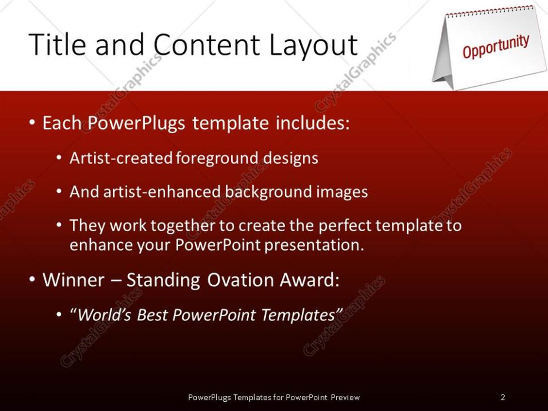 powerpoint template: blank table calendar with red opportunity, Modern powerpoint