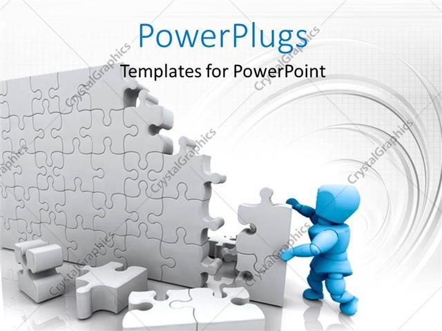 powerpoint template: blue 3d man building high wall with jigsaw, Modern powerpoint