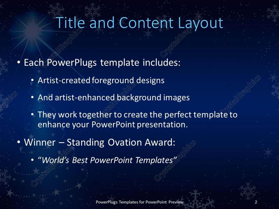 powerpoint template blue background with snowflakes and christmas