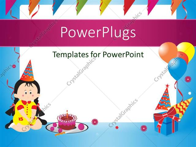 powerpoint template: blue birthday frame with balloons, gift box, Powerpoint templates