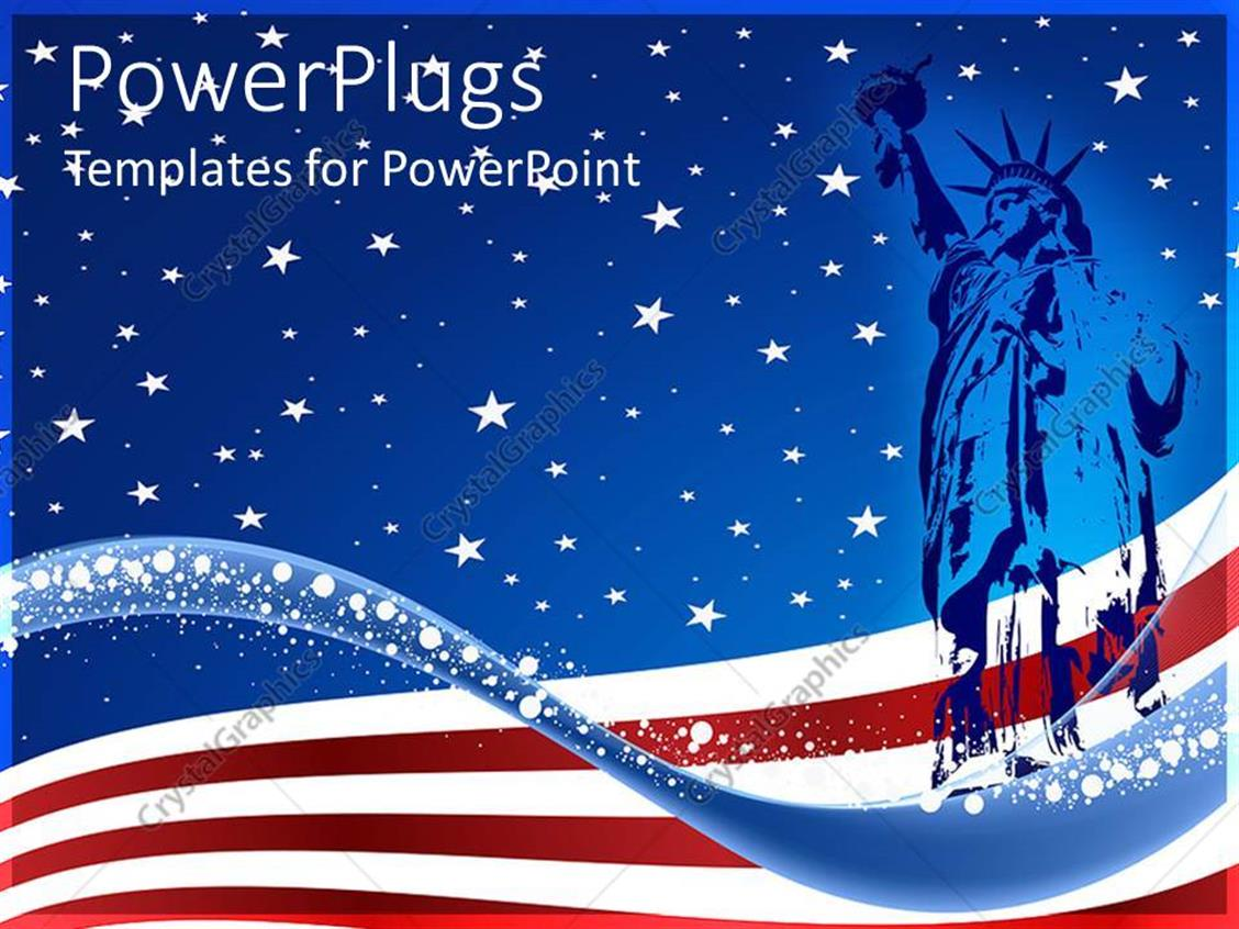 powerpoint template blue colored statue of liberty over