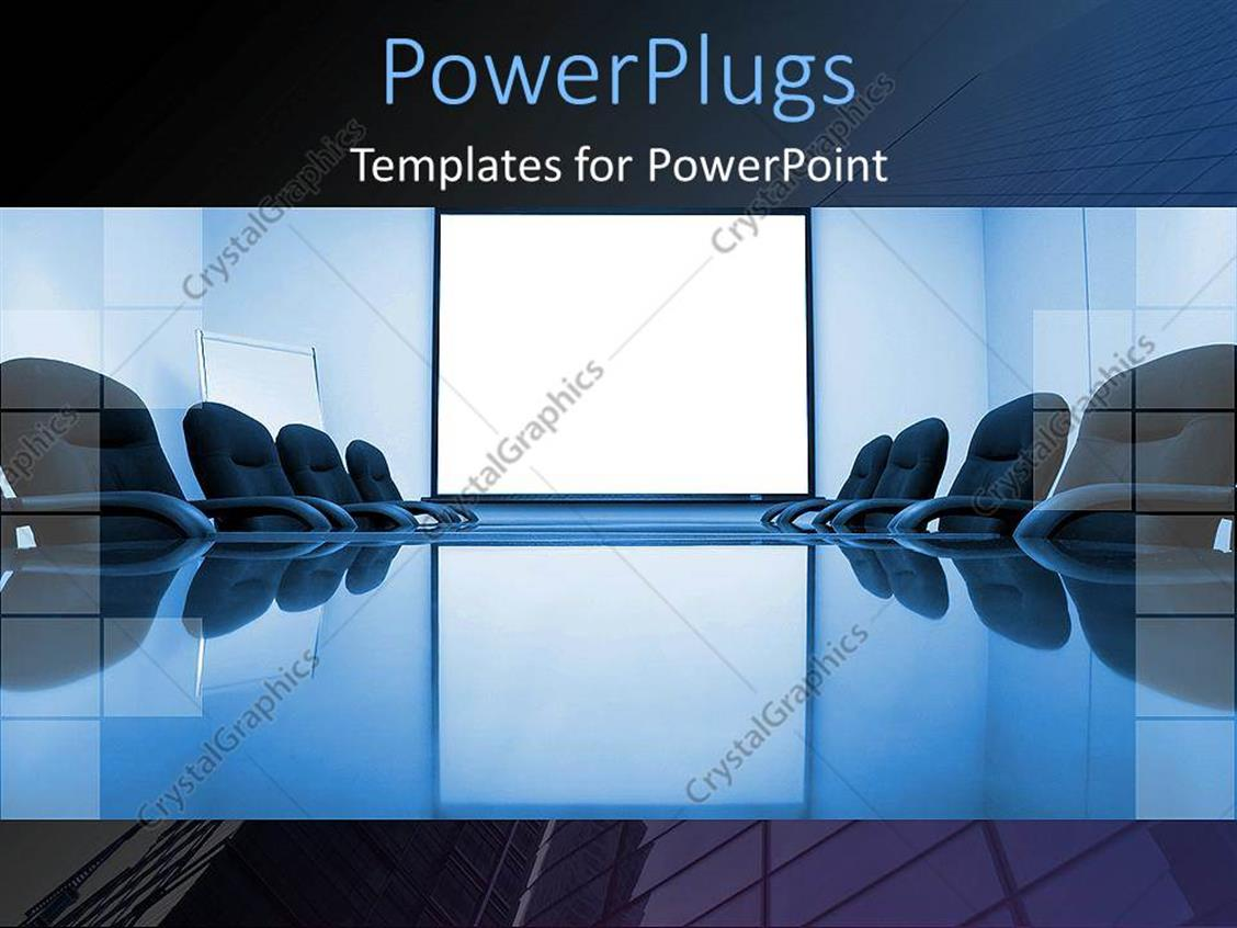 PowerPoint Template Displaying Blue Conference Room with Office Chairs and White powerpoint Slide for Business