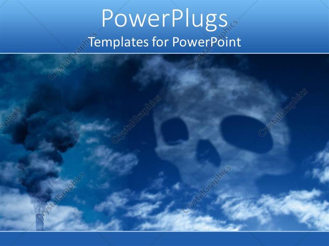 Air Pollution Skull : Powerpoint template blue death skull harmful wastes