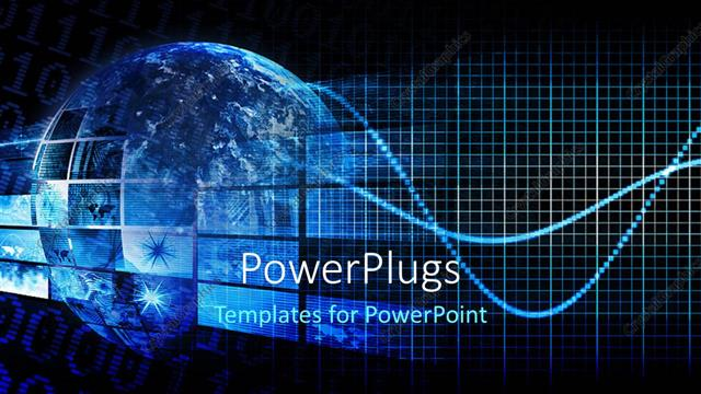 PowerPoint Template: a blue globe with hi tech images depicting ...
