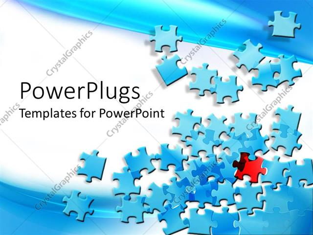 Powerpoint template blue jigsaw puzzle pieces spread on the powerpoint template displaying blue jigsaw puzzle pieces spread on the screen with a red and black toneelgroepblik Image collections