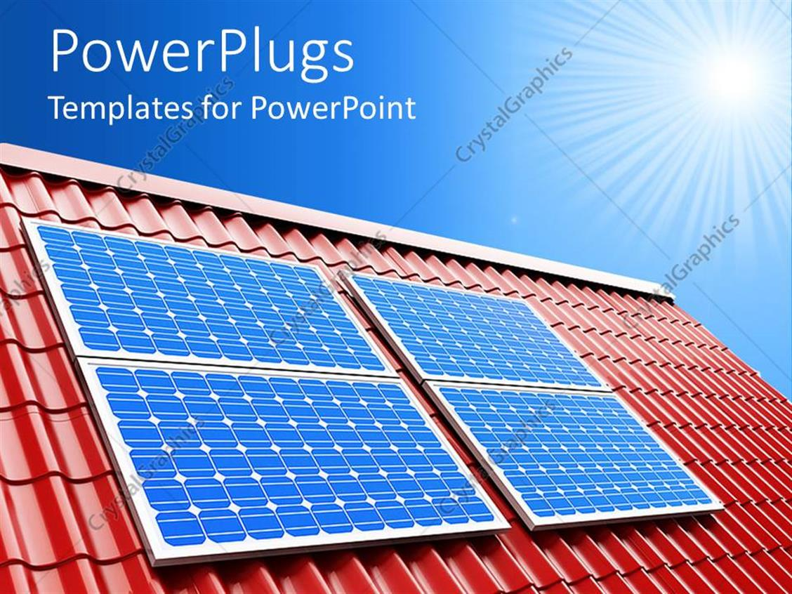 powerpoint template blue solar panels on red roof on a sunny light blue sky background 26763. Black Bedroom Furniture Sets. Home Design Ideas