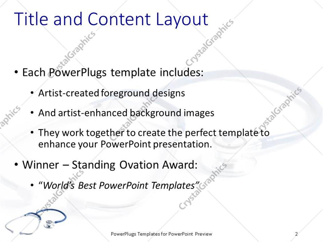 powerpoint template: blue stethoscope with shadow on plain white, Powerpoint templates