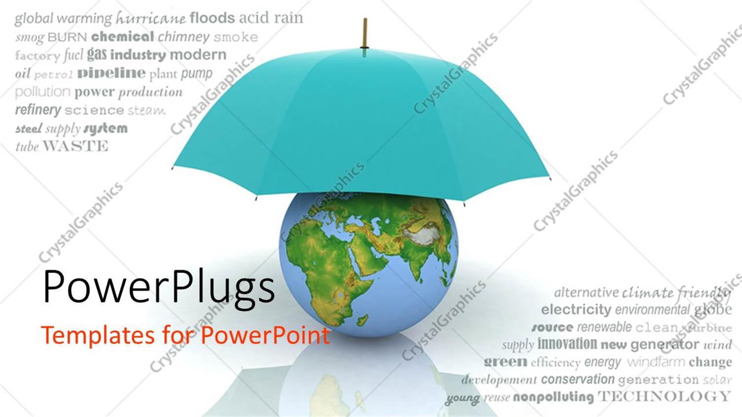 powerpoint template a blue umbrella protecting the earth 23968
