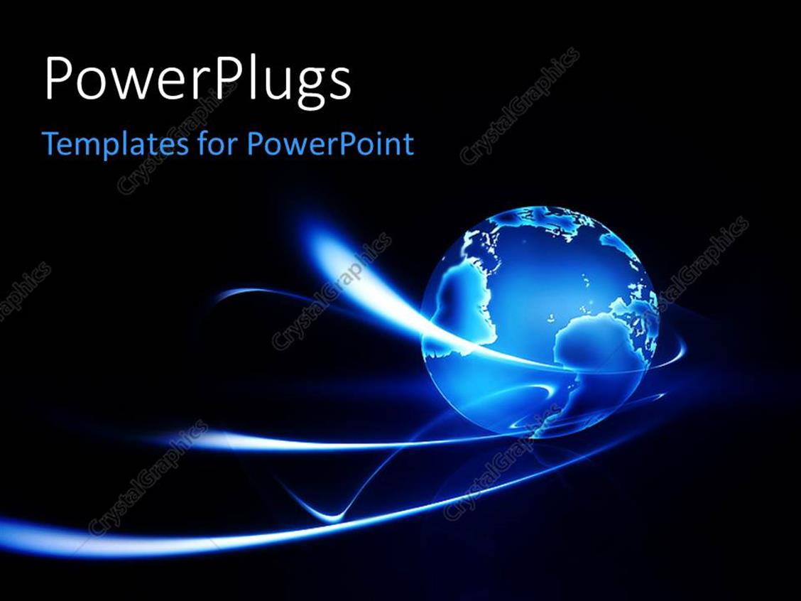 PowerPoint Template Displaying the Bluish Globe with a Dark Background