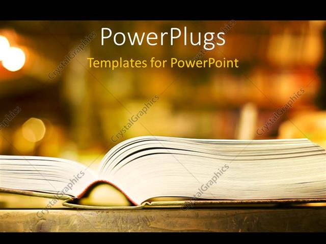 powerpoint template a book with a bookshelf in the background 3905