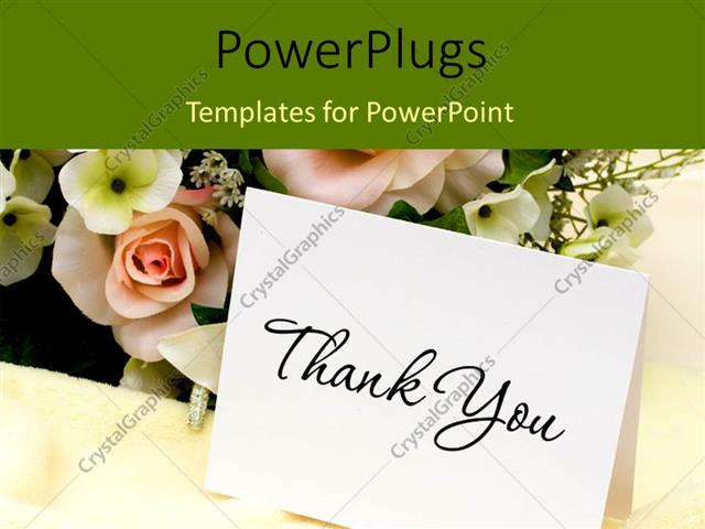 powerpoint template: bouquet of flowers with a thank you card (29332), Modern powerpoint