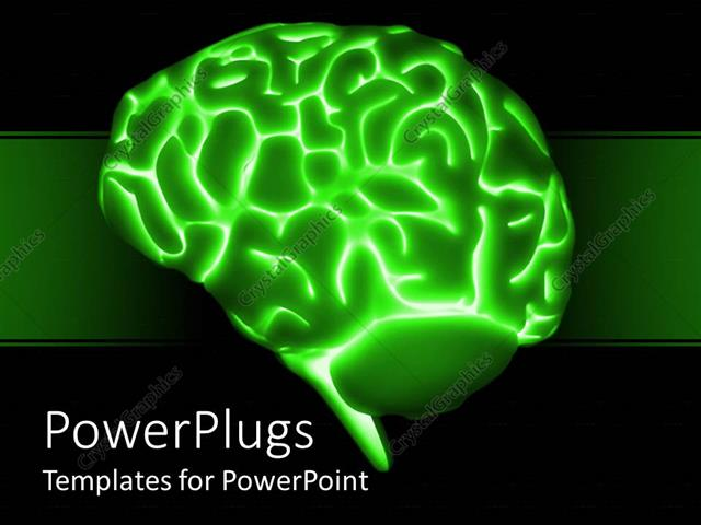 PowerPoint Template a brain with greenish background and a number – Brain Powerpoint Template