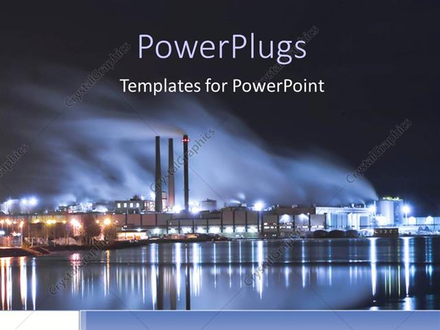 powerpoint template: brightly lit industrial district at night (17192), Modern powerpoint