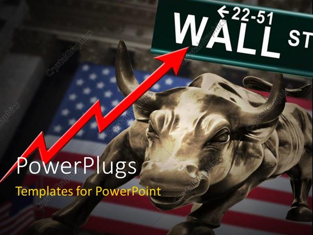 powerpoint template: bronze bull over american flag with red, Presentation templates