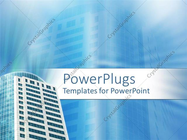 powerpoint template: a building with its reflection in the, Modern powerpoint
