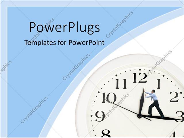powerpoint template: business man inside clock trying to push, Presentation templates