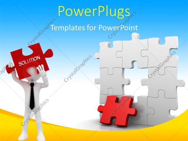 Powerpoint Template: Business Man Trying To Find Missing Piece Of