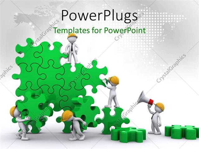 powerpoint template: business team work building puzzles with, Modern powerpoint