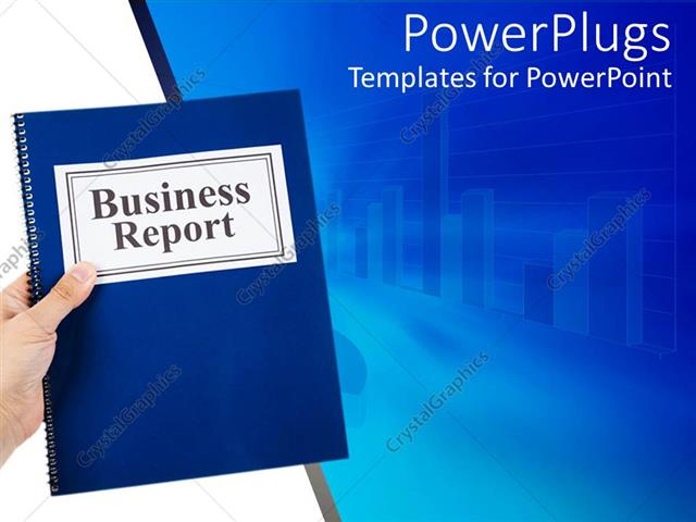 Powerpoint Template: Business Theme With Hand Holding Blue