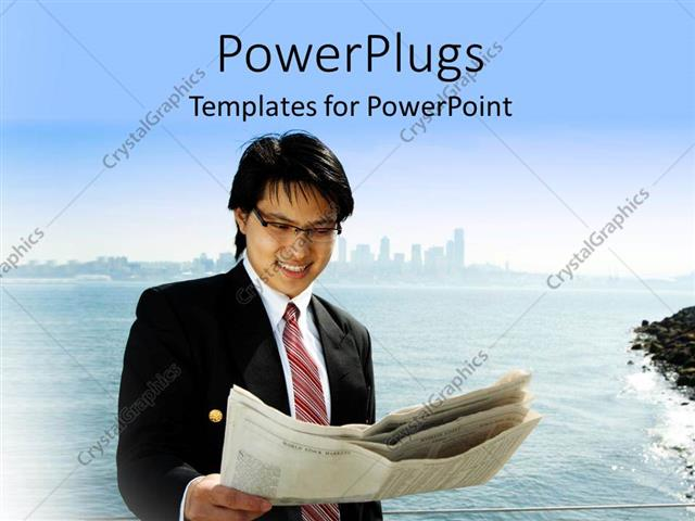 PowerPoint Template Displaying Businessman Reading a Financial Newspaper on the Beach with Blur Skyscrapers