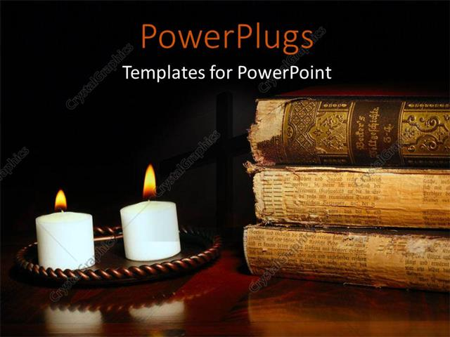 Powerpoint Template Candles Illuminating Antique World History