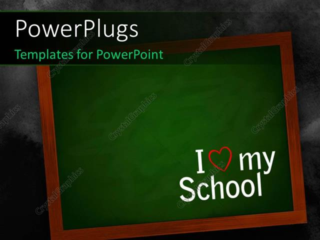 powerpoint template: chalkboard on a wall with i love my school, Modern powerpoint