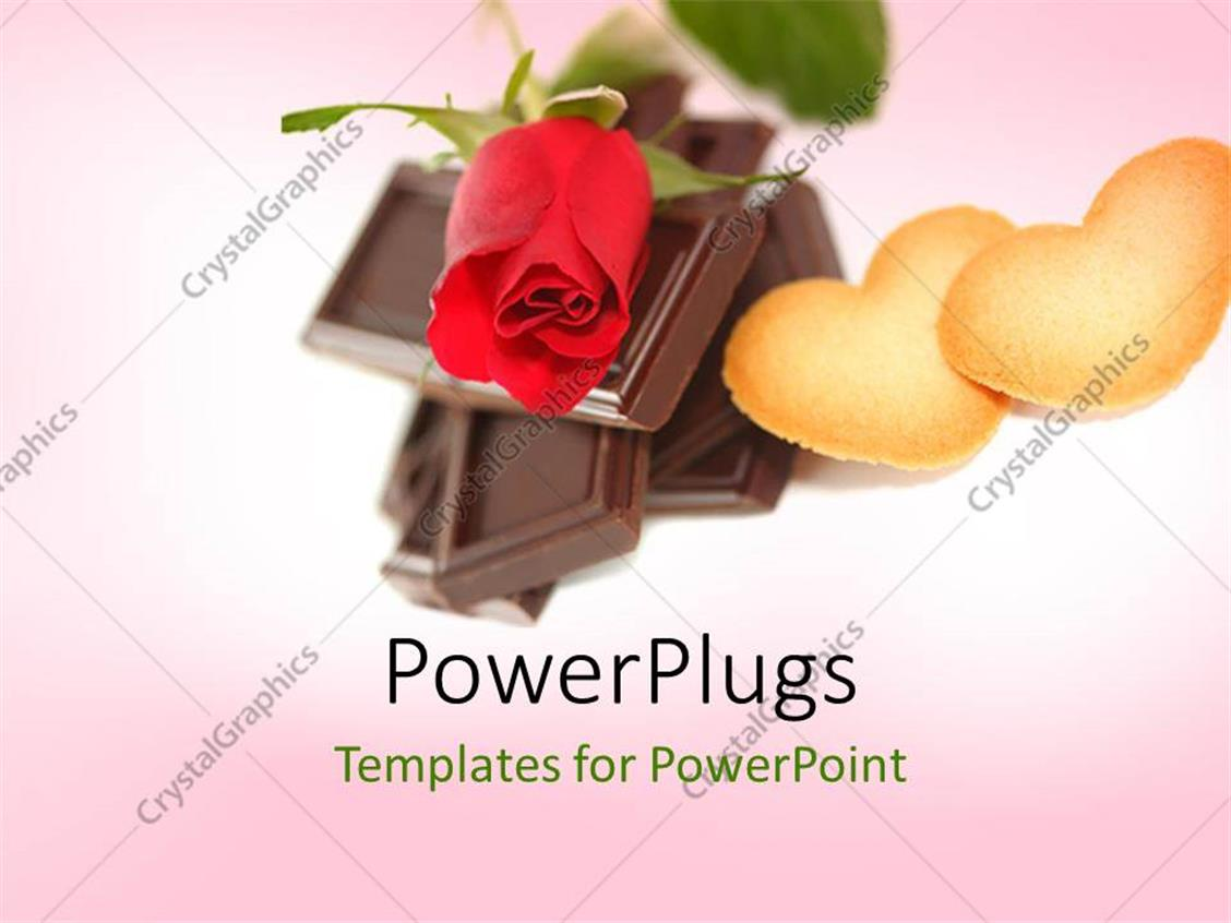 powerpoint template chocolate pieces with a rose and two cookies 12930. Black Bedroom Furniture Sets. Home Design Ideas