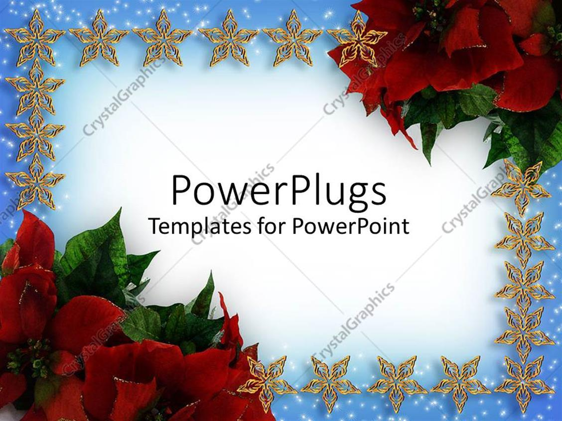 powerpoint template christmas card with stars and flowers