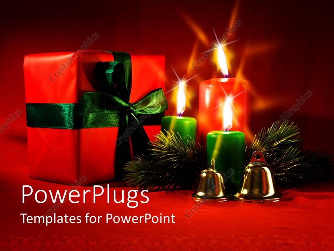 PowerPoint Template Displaying the Christmas Celebration with a Number of Candles