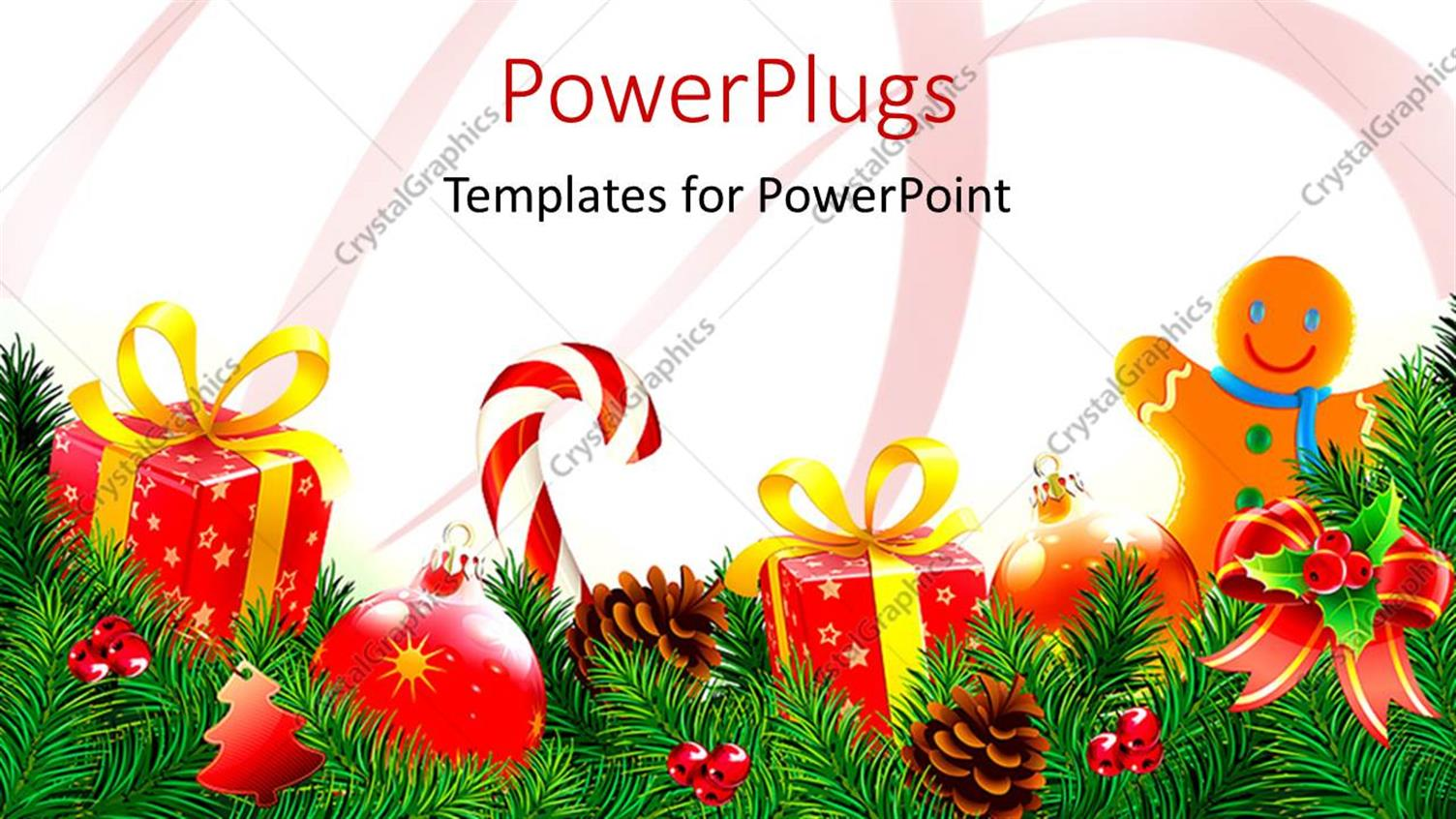 powerpoint template lots of christmas tree ornaments and
