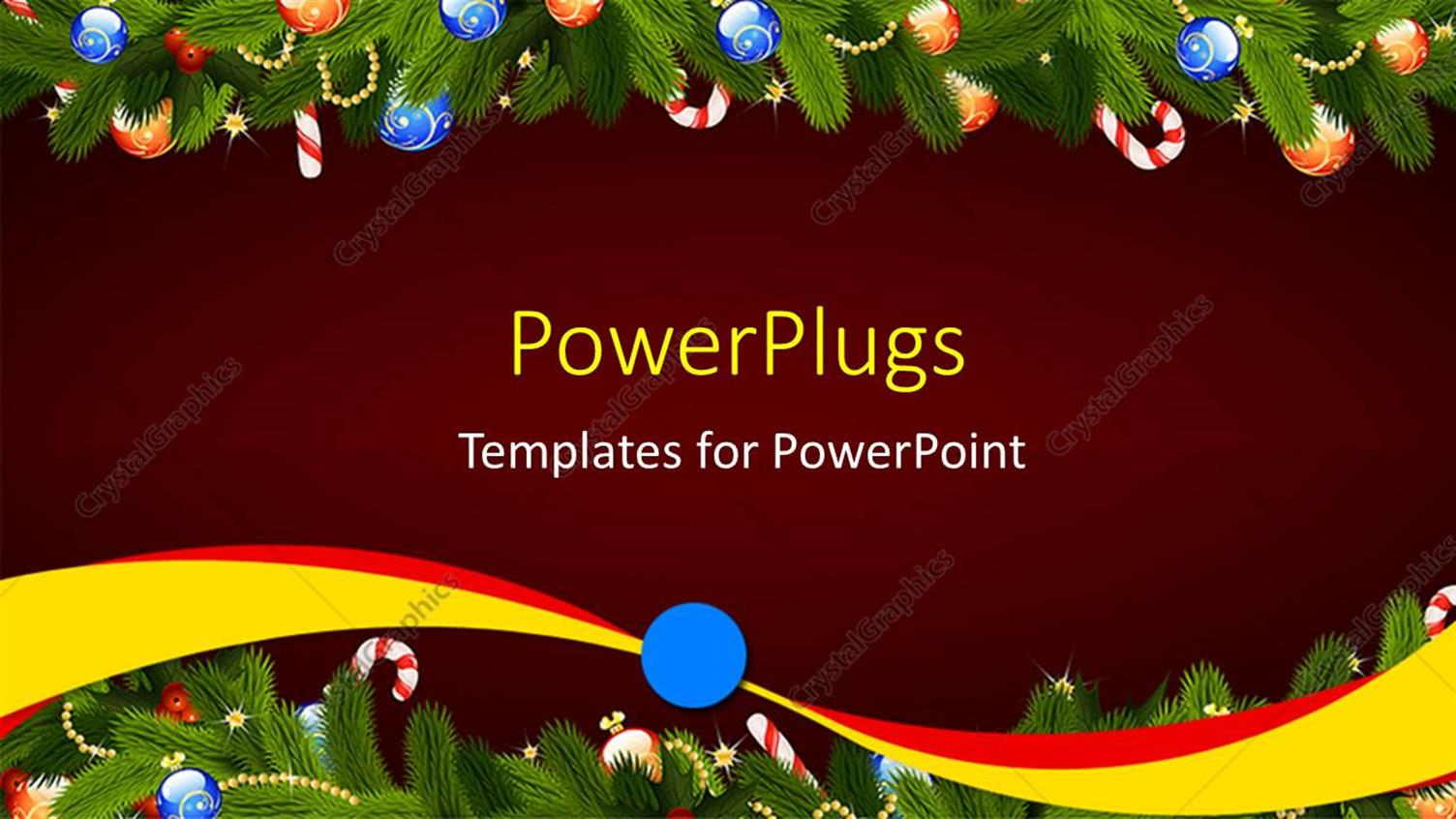 powerpoint template a frame of christmas mistletoe u0027s on a red