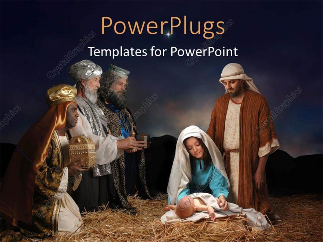 Powerpoint Template Christmas Nativity Scene With Wise