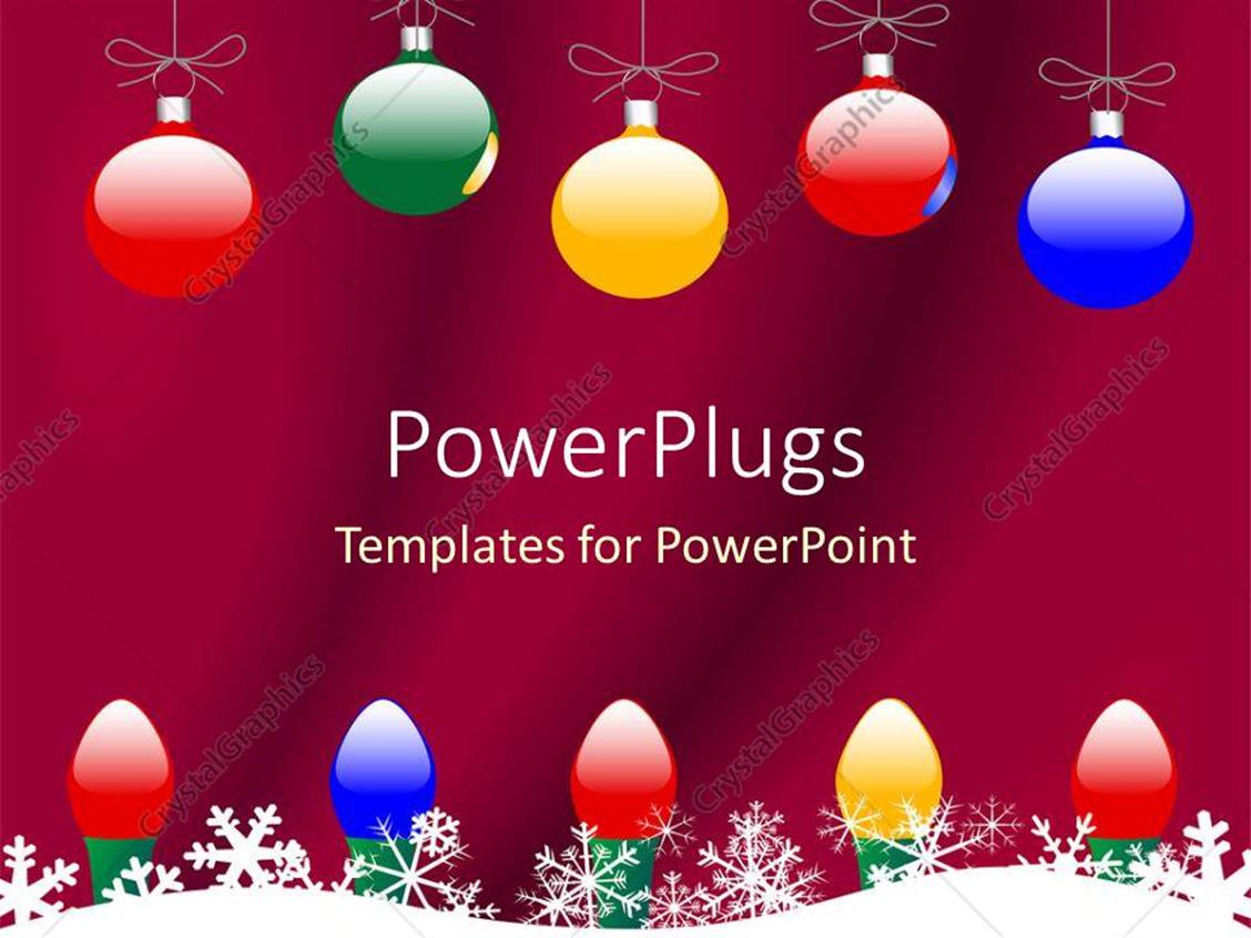 powerpoint template christmas theme with colorful globes and christmas lights and snowflakes. Black Bedroom Furniture Sets. Home Design Ideas