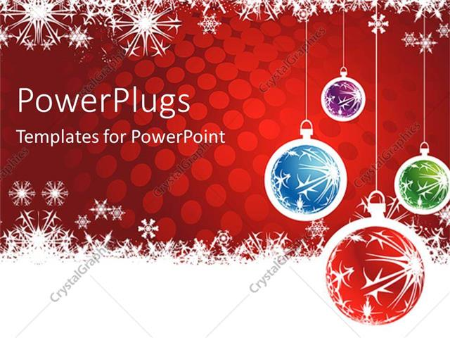 Powerpoint Template: Christmas Theme With Four Red, Blue, Green