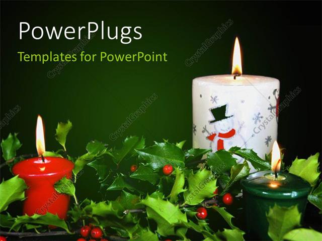 PowerPoint Template Displaying Christmas Theme with Glowing Candles & Fresh Seasonal Holly