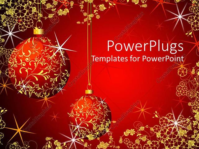 Powerpoint Template Christmas Theme With Red And Gold Glowing