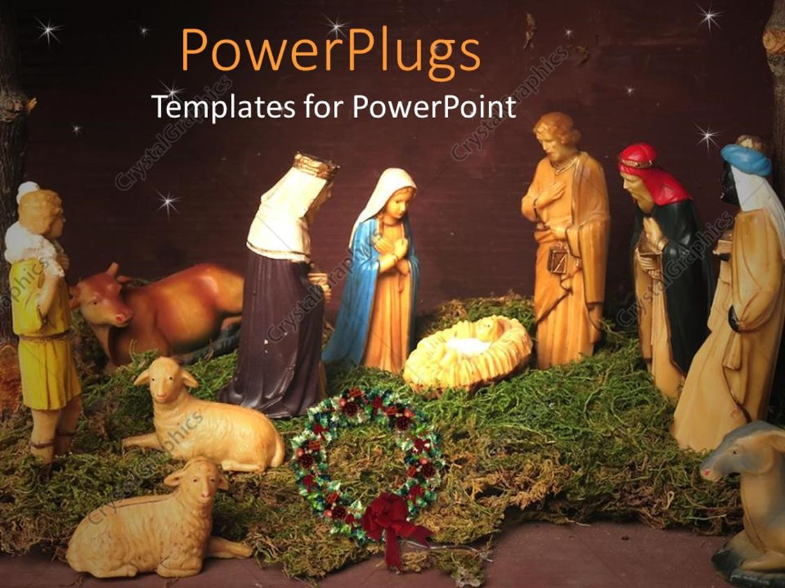 powerpoint template christmas theme representing nativity scene