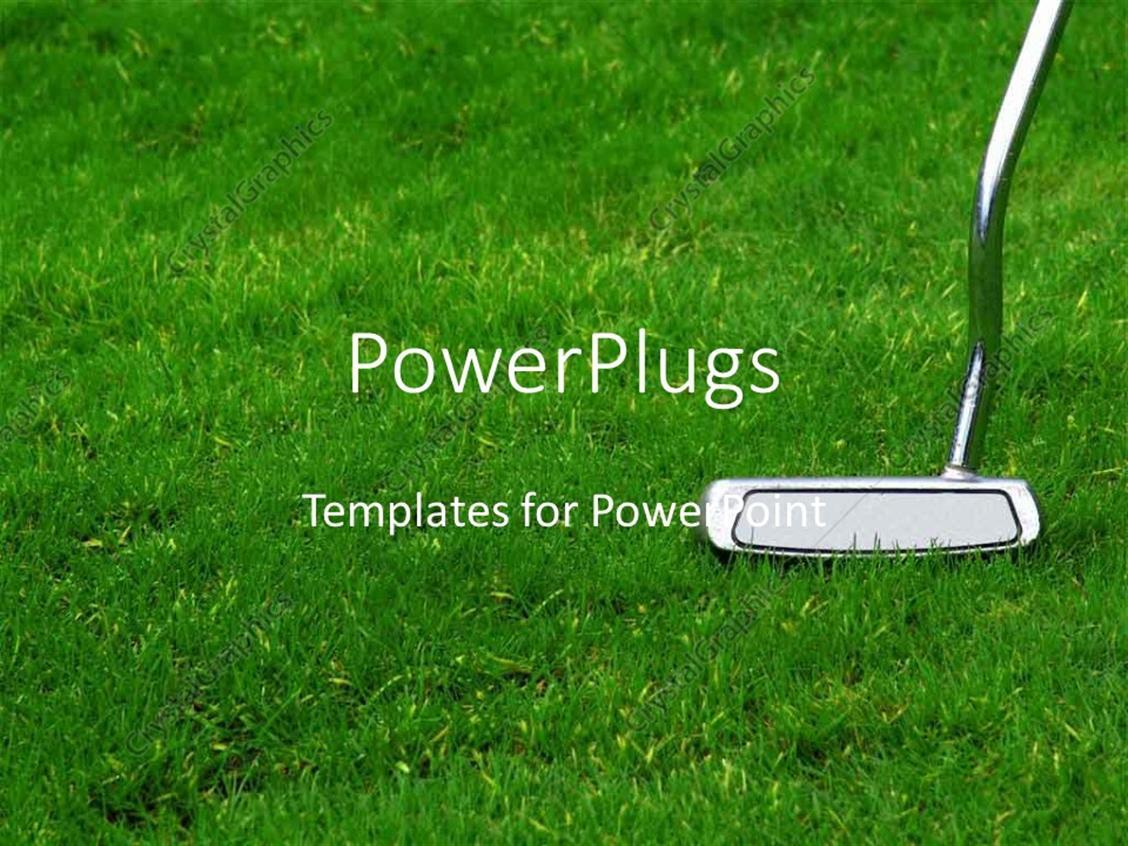 powerpoint template: chrome golf club on green grass (29878), Modern powerpoint