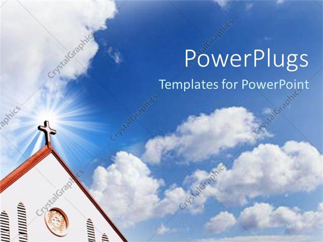 powerpoint template: church cross steeple with blue cloudy sky (25034), Modern powerpoint